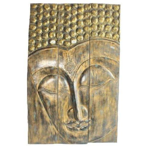 Thai Buddha Panel Handmade from Solid Tree Trunk L90xH140cm