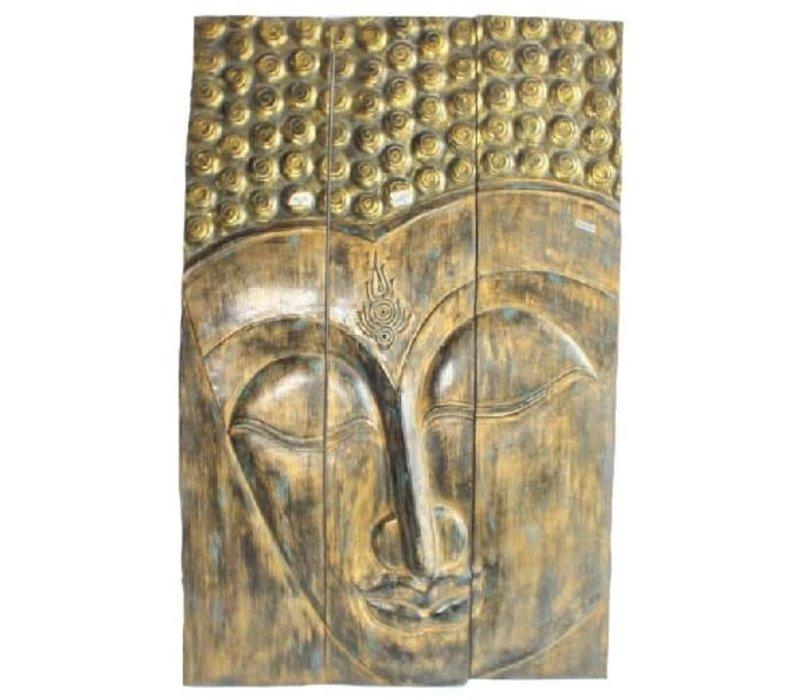 Thaise Buddha Paneel Handgemaakt Van Stevige Boomstam L90xH140cm