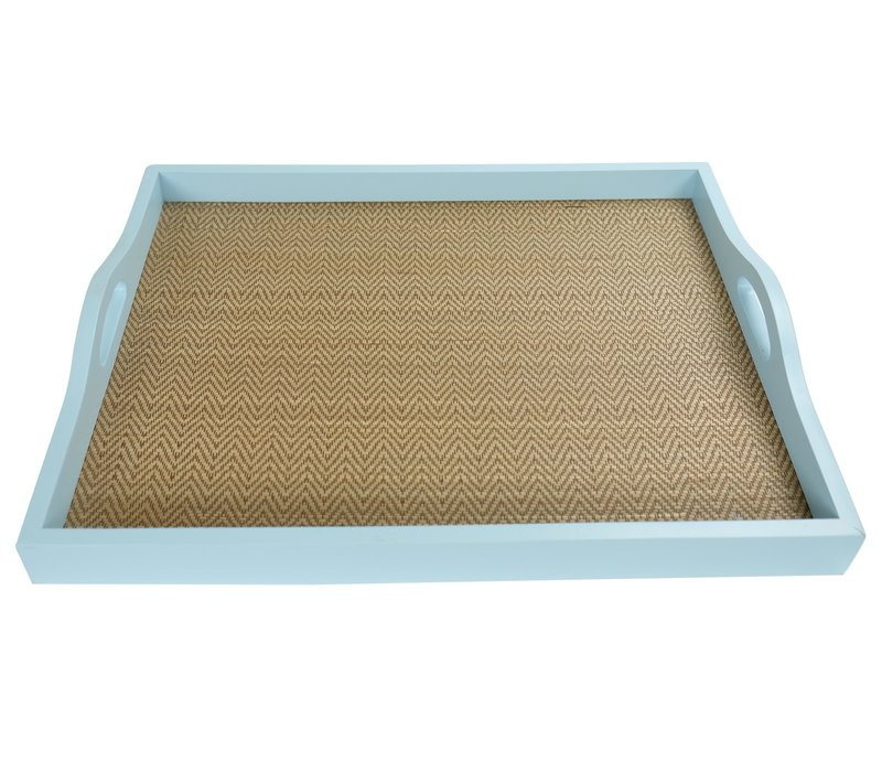 Mangowood Decorative Tray Bamboo Handmade in Thailand Blue