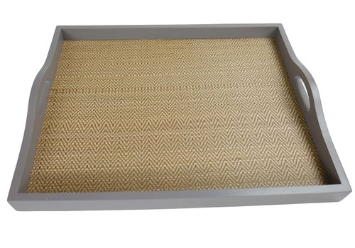 Fine Asianliving Mangowood Decorative Tray Bamboo Handmade in Thailand Grey