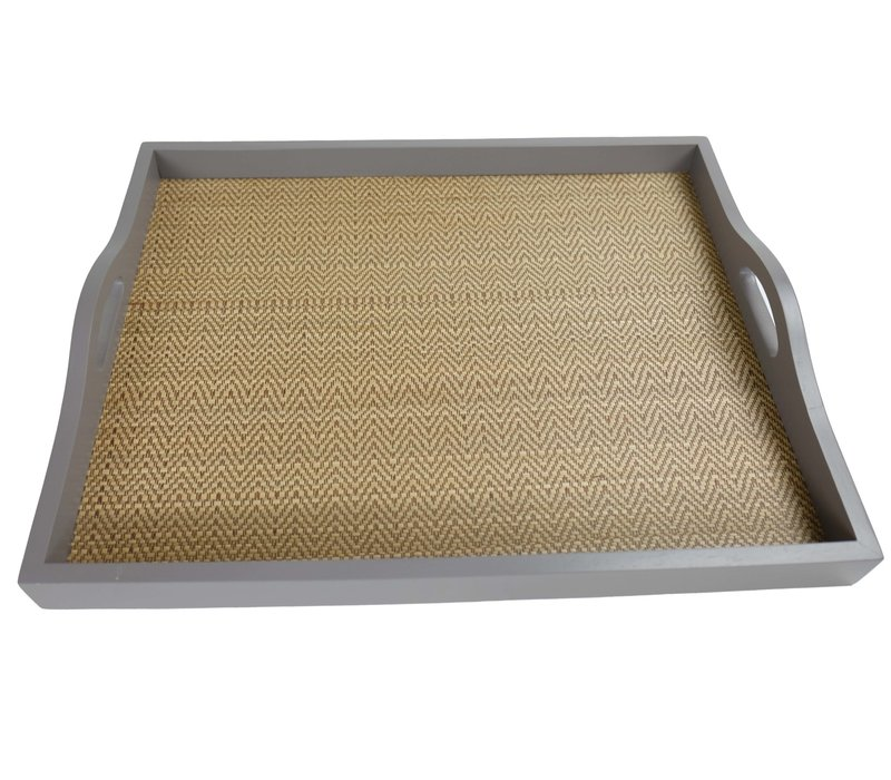 Mangowood Decorative Tray Bamboo Handmade in Thailand Grey