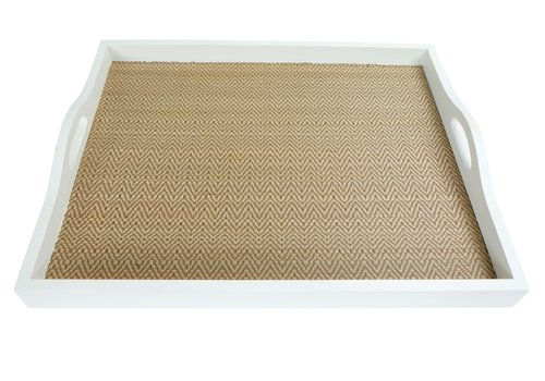 Fine Asianliving Mangowood Decorative Tray Bamboo Handmade in Thailand White