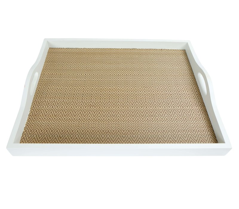 Mangowood Decorative Tray Bamboo Handmade in Thailand White