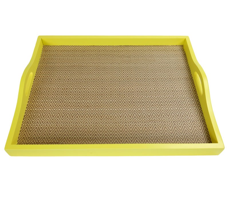 Mangowood Decorative Tray Bamboo Handmade in Thailand Yellow