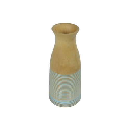Decorative Vase Mangowood Handmade in Thailand Blue