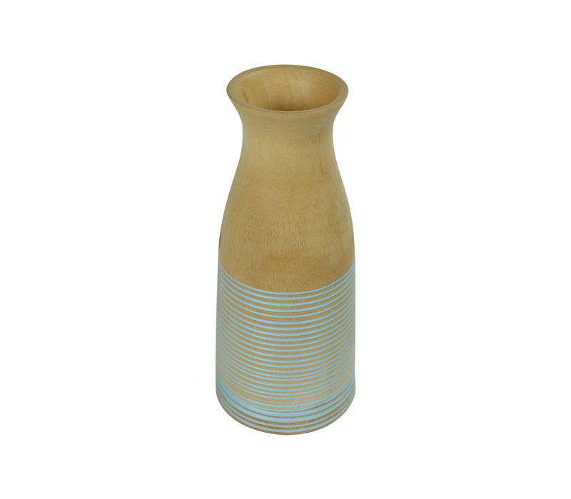 Decorative Vase Mangowood Handmade in Thailand Blue