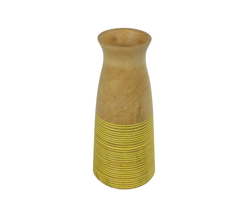 Decoratieve Vaas Mangohout Handgemaakt in Thailand Geel