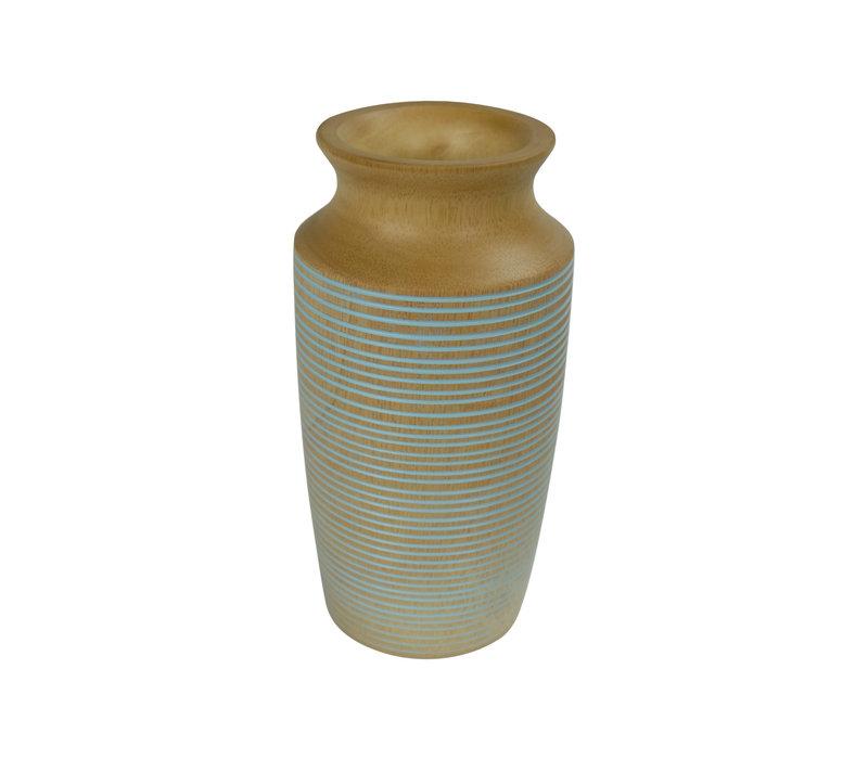 Decorative Vase Mango Wood Handmade in Thailand Blue