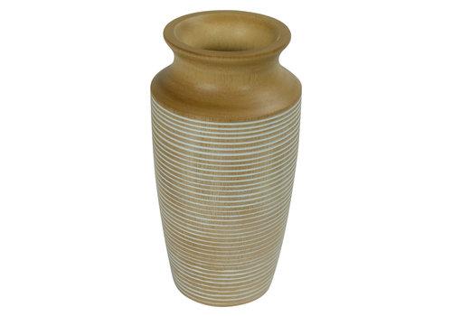 Fine Asianliving Decorative Vase Mango Wood Handmade in Thailand White