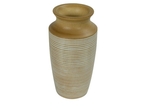 Fine Asianliving Decorative Vase Mangowood Handmade in Thailand White