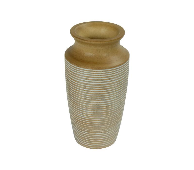 Decorative Vase Mango Wood Handmade in Thailand White