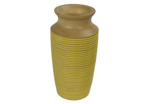 Fine Asianliving Decorative Vase Mango Wood Handmade in Thailand Yellow