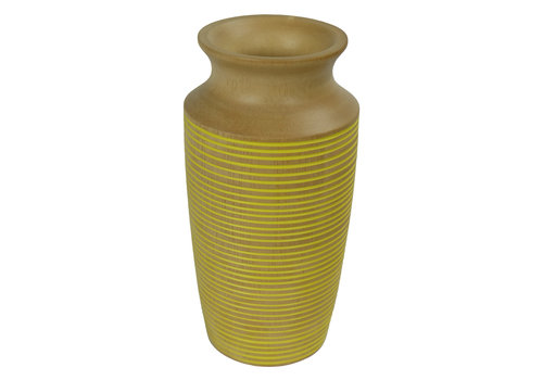 Fine Asianliving Decorative Vase Mangowood Handmade in Thailand Yellow