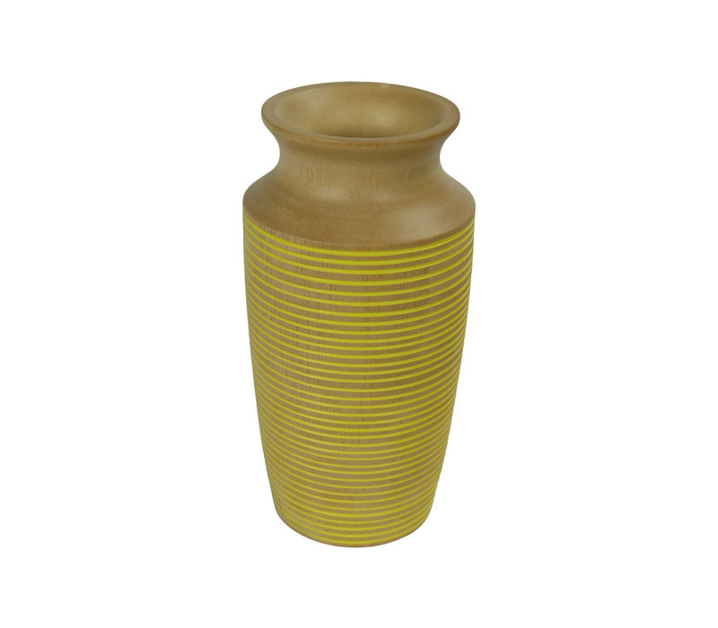 Decorative Vase Mangowood Handmade in Thailand Yellow