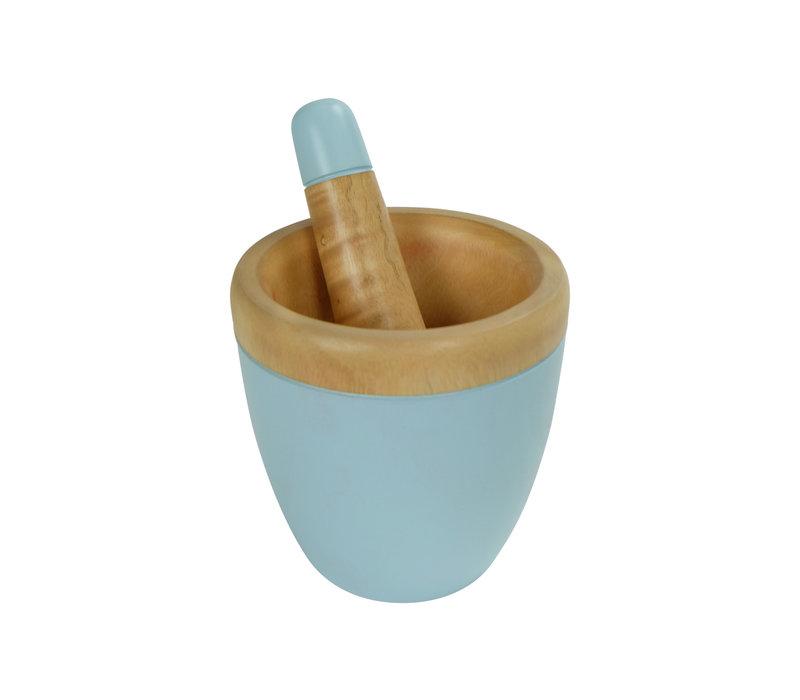Mortar Set/2 Mango Wood Handmade in Thailand Blue