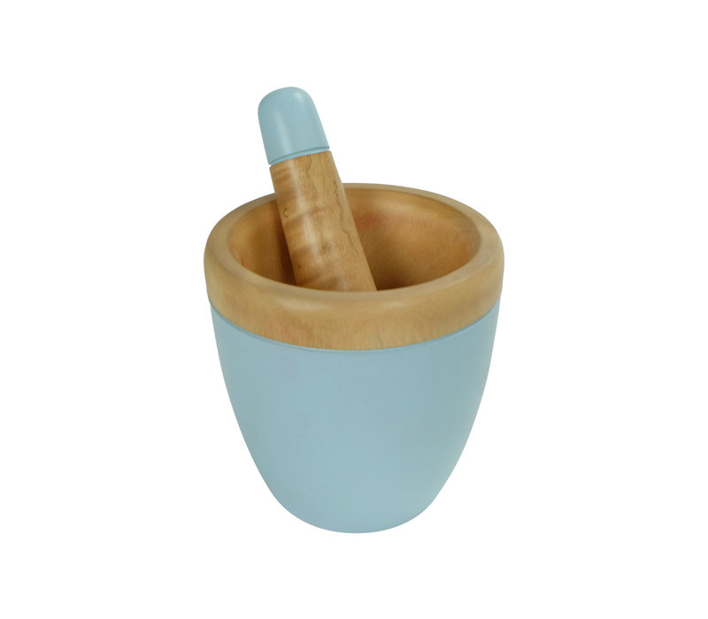 Mortar Set/2 Mangowood Handmade in Thailand Blue