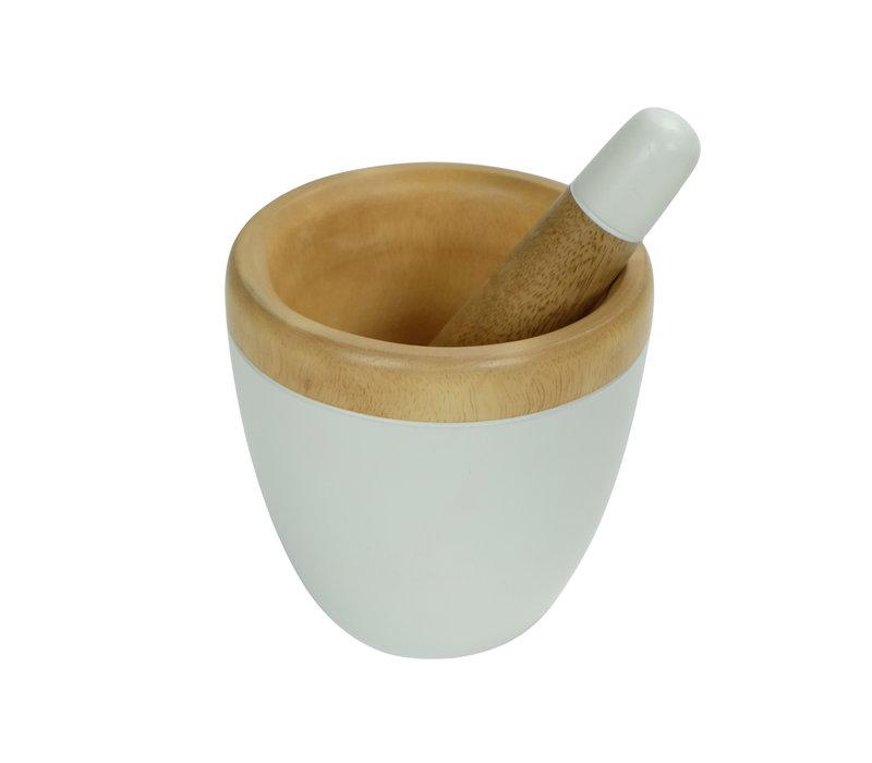 Mortar Set/2 Mango Wood Handmade in Thailand White