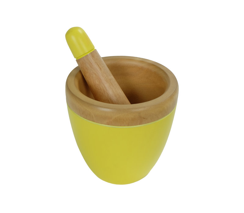 Mortar Set/2 Mango Wood Handmade in Thailand Yellow