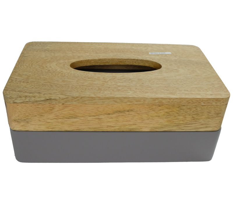 Tissue Box Holder Mango Wood Handmade in Thailand Grey