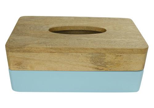 Fine Asianliving Tissue Box Holder Mango Wood Handmade in Thailand Blue