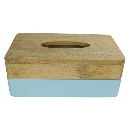Tissue Box Mangowood Handmade in Thailand Blue