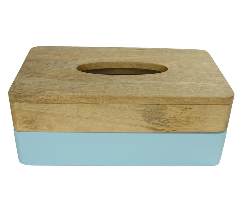 Tissue Box Mangowood Handmade in Thailand Blue
