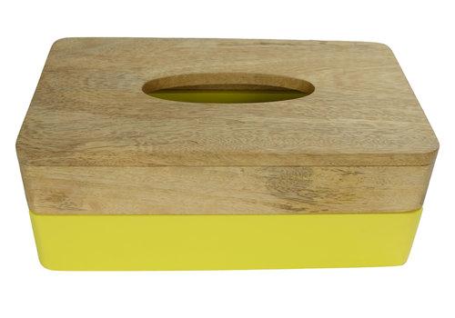 Fine Asianliving Tissue Box Holder Mango Wood Handmade in Thailand Yellow