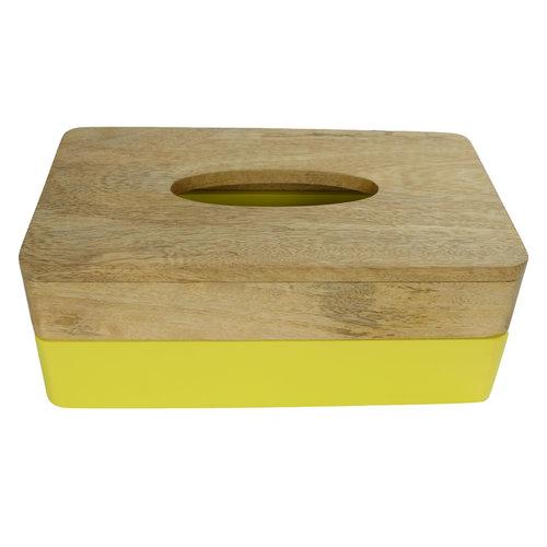 Tissue Box Mangowood Handmade in Thailand Yellow