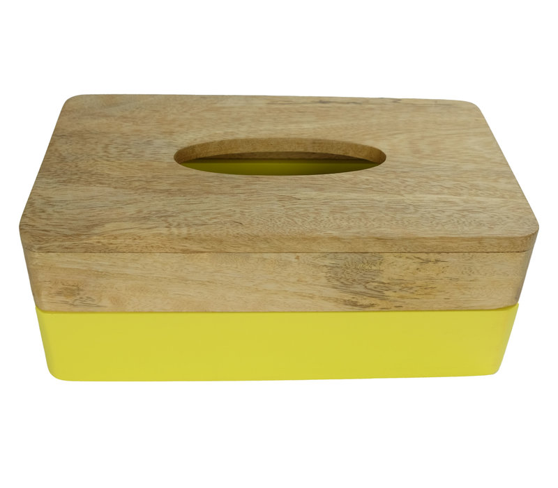 Tissue Box Holder Mango Wood Handmade in Thailand Yellow