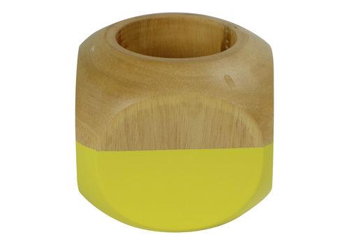 Fine Asianliving Tea Light Holder Mango Wood Yellow