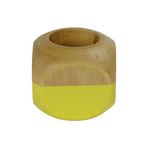 Fine Asianliving Candle Holder Mangowood Yellow