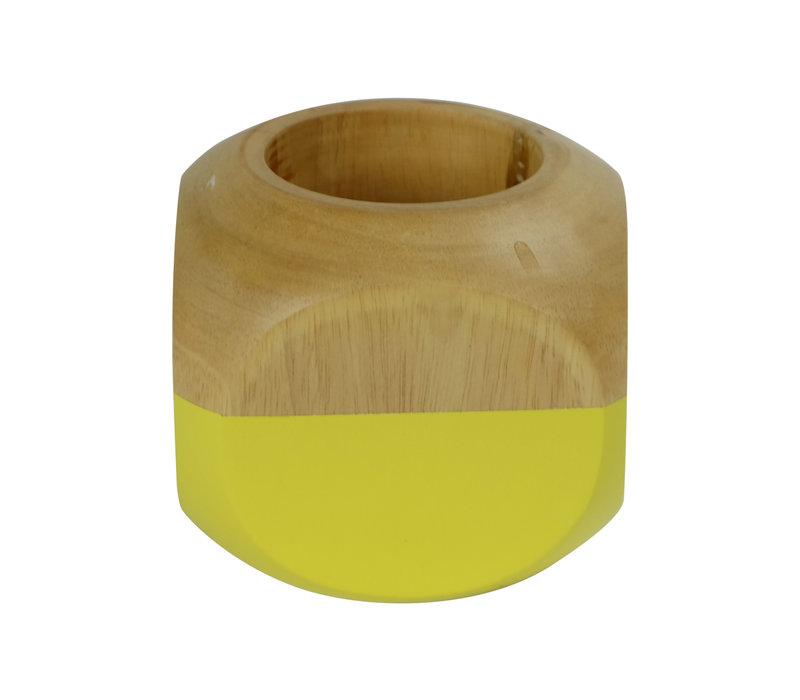 Tea Light Holder Mango Wood Yellow