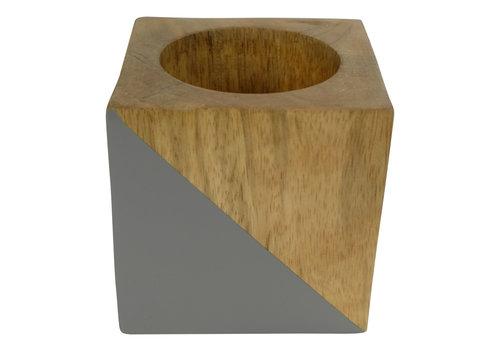Fine Asianliving Tea Light Holder Mango Wood Grey