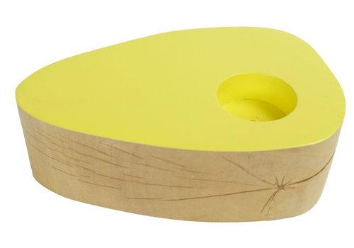 Fine Asianliving Tea Light Holder Mango Wood Handmade in Thailand Yellow