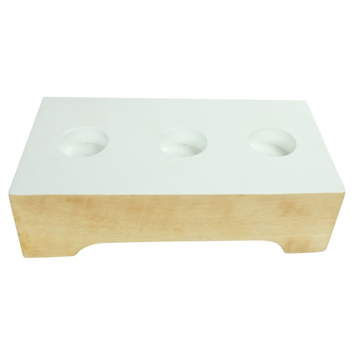 Candle Holder Mangowood Handmade in Thailand White