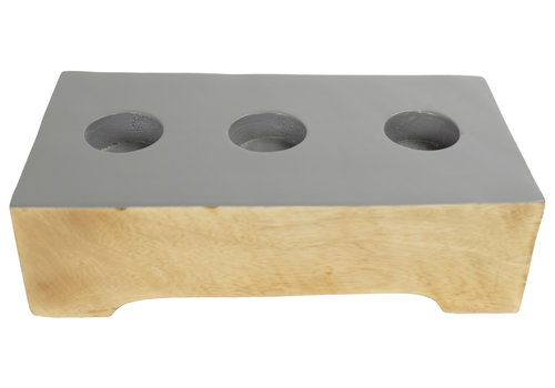 Fine Asianliving Candle Holder Mangowood Handmade in Thailand Grey