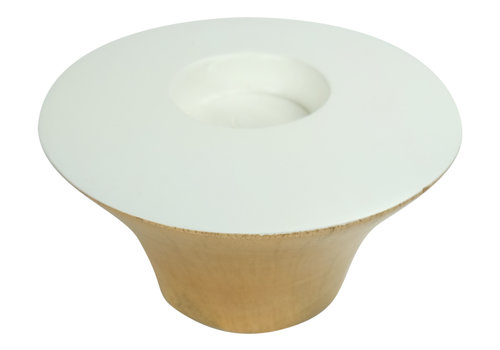 Fine Asianliving Candle Holder Mangowood Handmade in Thailand White