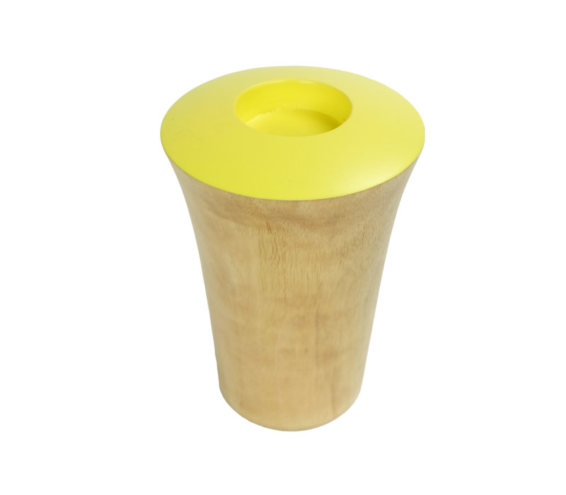 Candle Holder Mangowood Handmade in Thailand Yellow