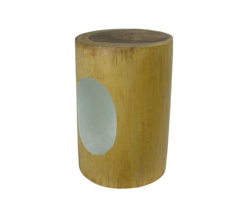 Fine Asianliving Stool Mango Wood Handmade in Thailand Natural White
