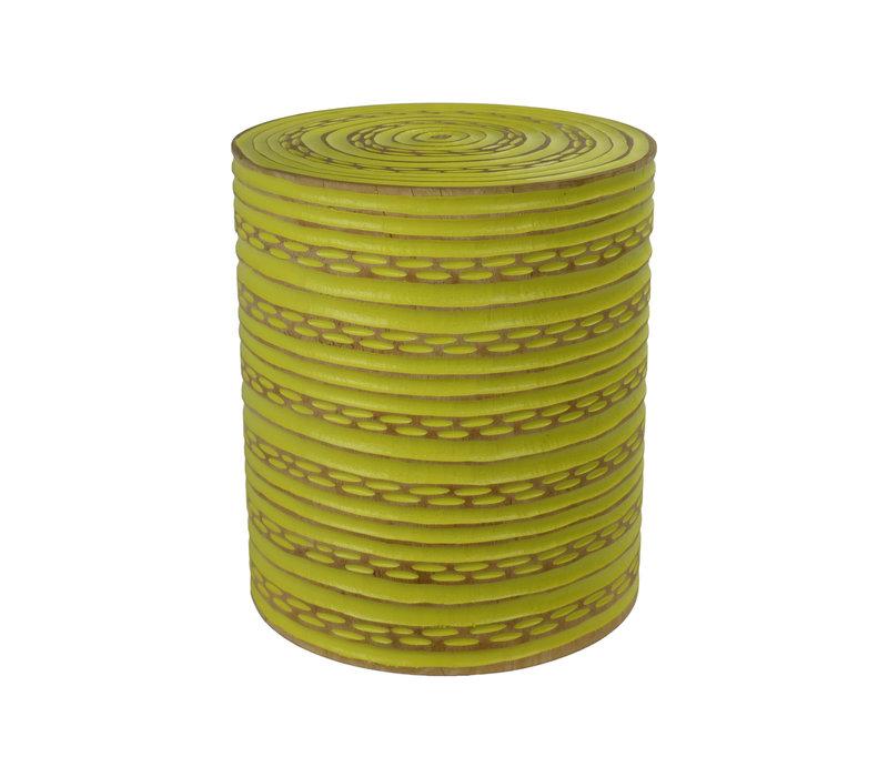 Hocker aus Mango Holz Hergestellt in Thailand Gelb