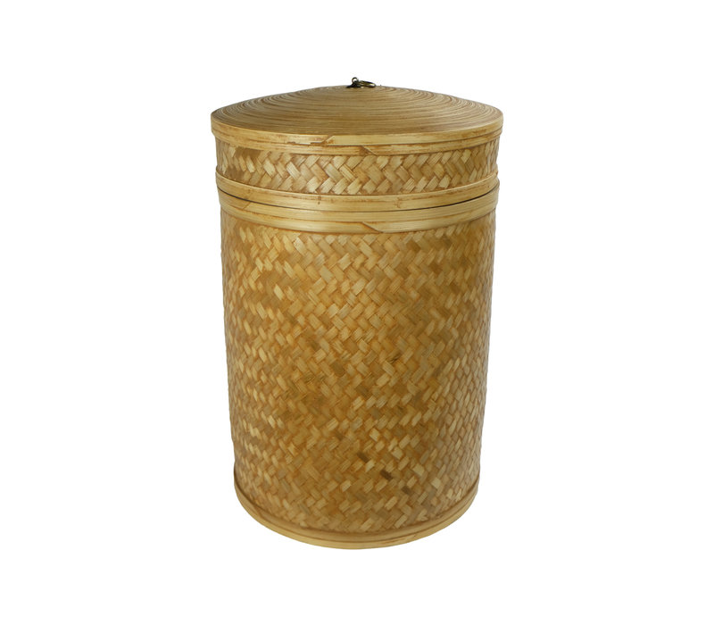Handbraided Jute Storage Box with Lid 40x60cm Handmade in Thailand