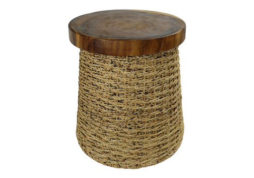 Fine Asianliving Handbraided Jute Stool with Wooden Top Handmade in Thailand 40x45cm