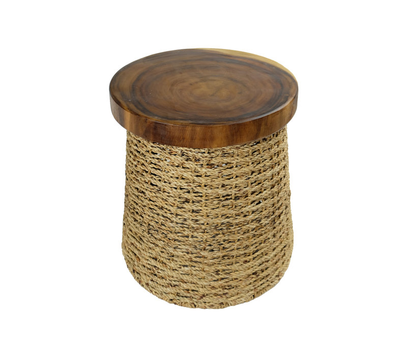 Handbraided Jute Stool with Wooden Top 40x45cm Handmade in Thailand