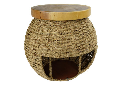 Fine Asianliving Handbraided Jute Stool with Wooden Top and Storage space 40x45cm Handmade in Thailand