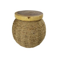 Handbraided Jute Stool with Mangowood Top and Storage space 40x45cm Handmade in Thailand