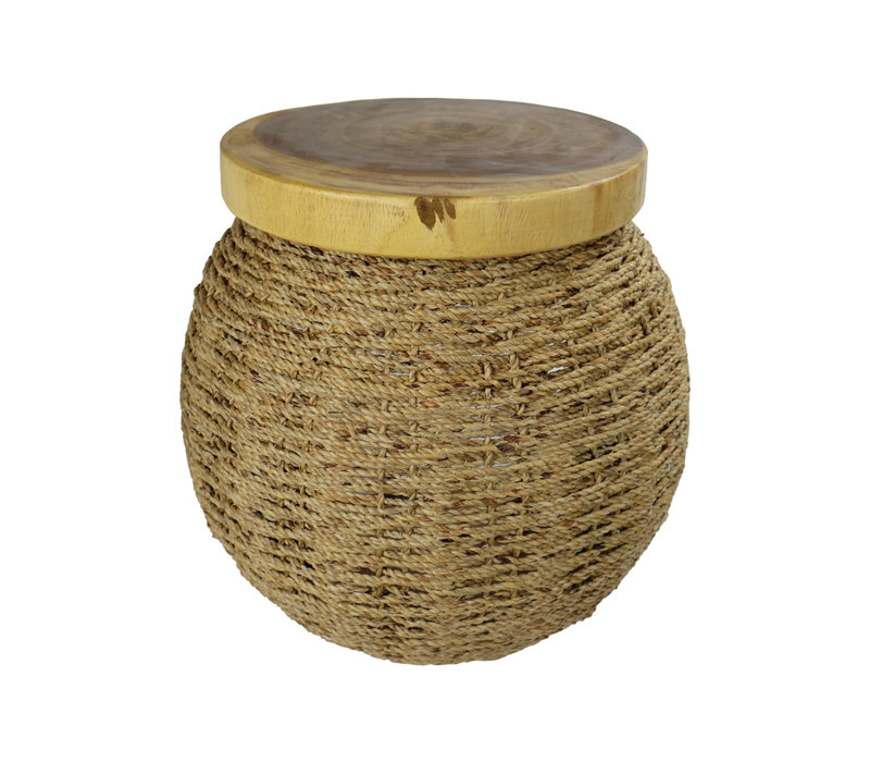 Handbraided Jute Stool with Wooden Top and Storage space 40x45cm Handmade in Thailand