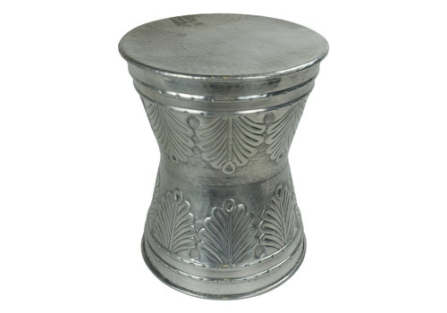 Fine Asianliving Indian Side Table Metal Hand-carved Handmade in India D38xH47cm