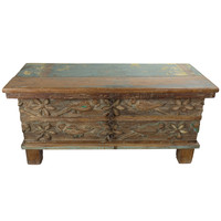 Indian Trunk Handcrafted Wood 88x36x44cm Handmade in India