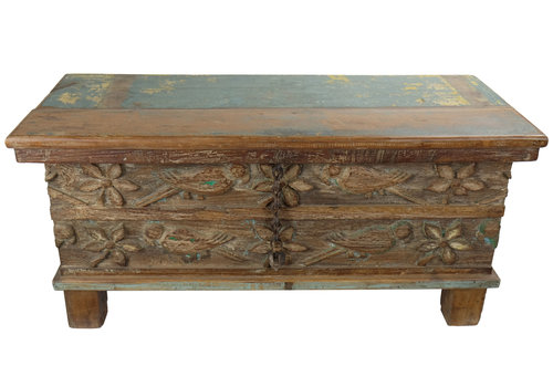 Fine Asianliving Indische Truhe Holz Handgefertigt in Indien B88xT36xH44cm