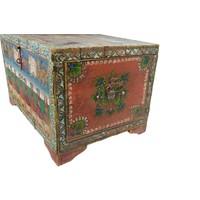 Antieke Indisch Kist Handgeschilderd B82xD60xH51cm Handgemaakt in India